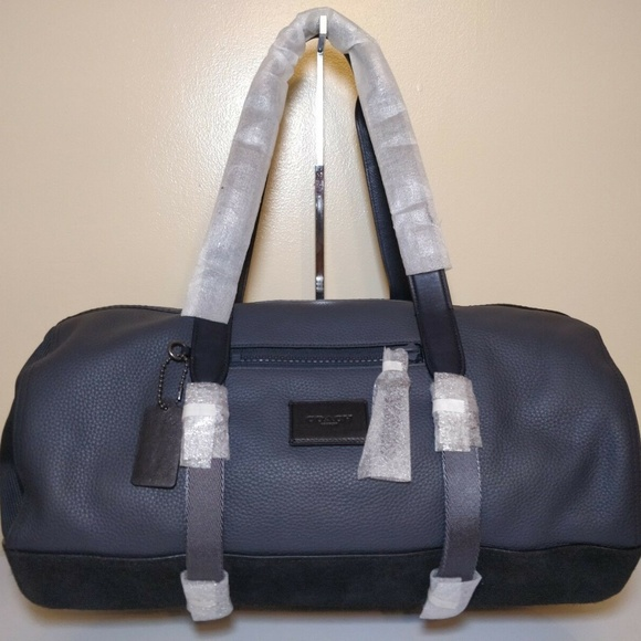 4179861613df COACH 86737 Hold All Gym Bag Leather Navy Black